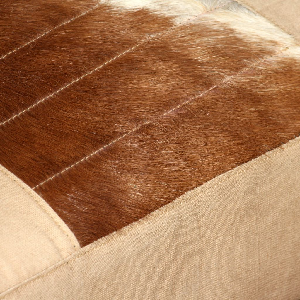 Lounge Chair Cream Genuine Goatskin and Canvas 2