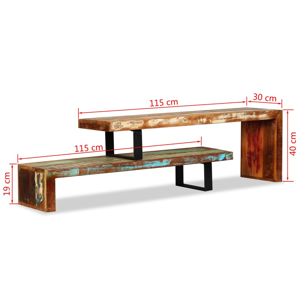 TV Stand Solid Reclaimed Wood 11