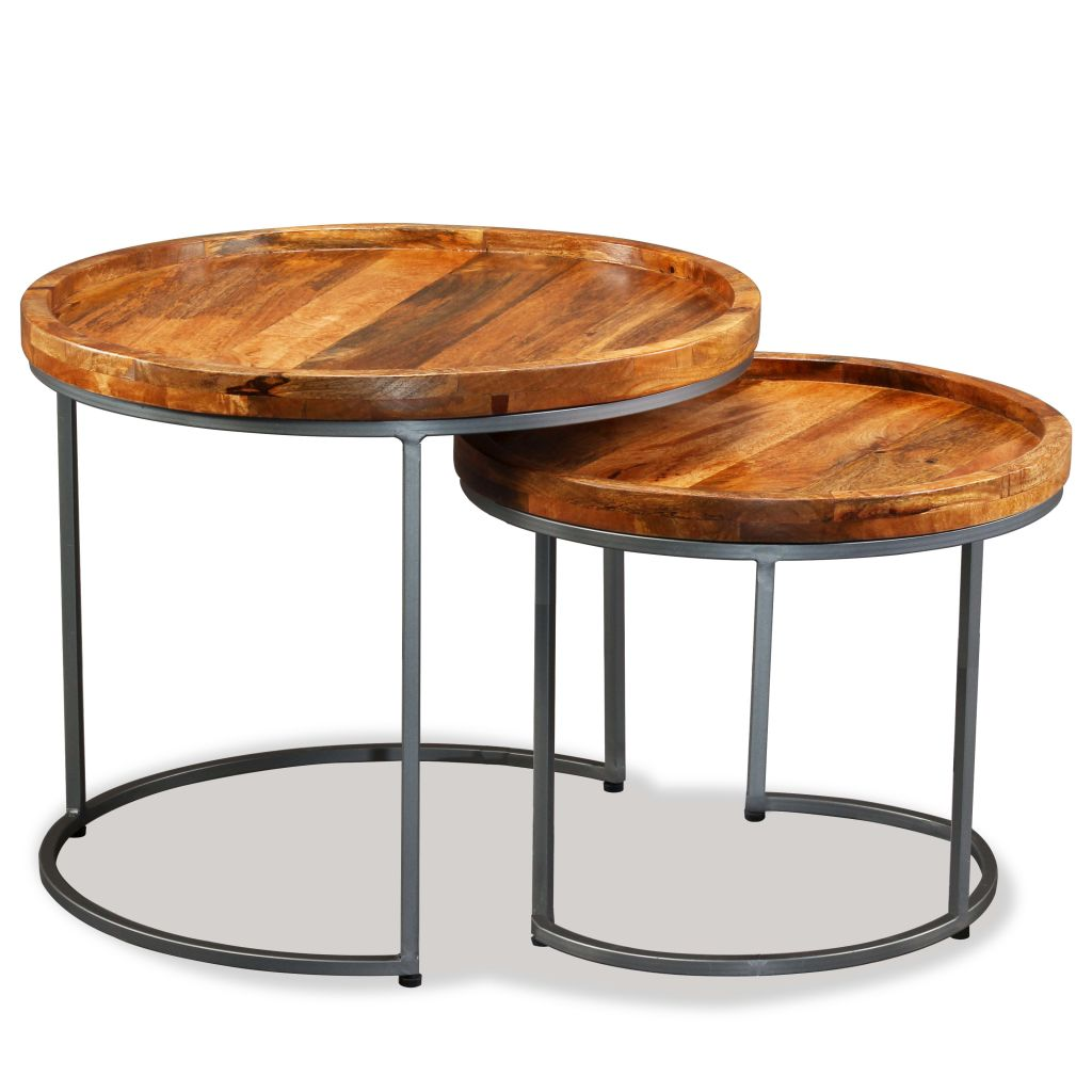 Side Table Set 2 Pieces Solid Mango Wood 1