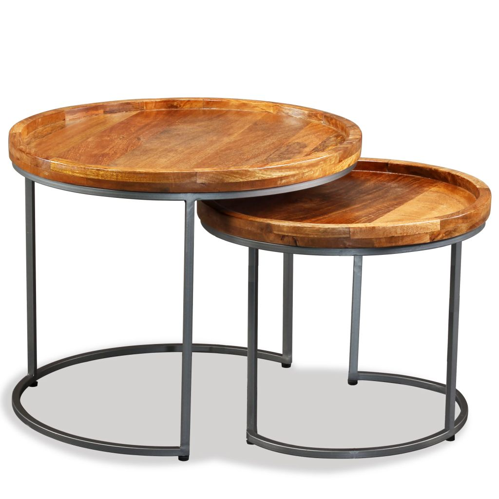 Side Table Set 2 Pieces Solid Mango Wood 2