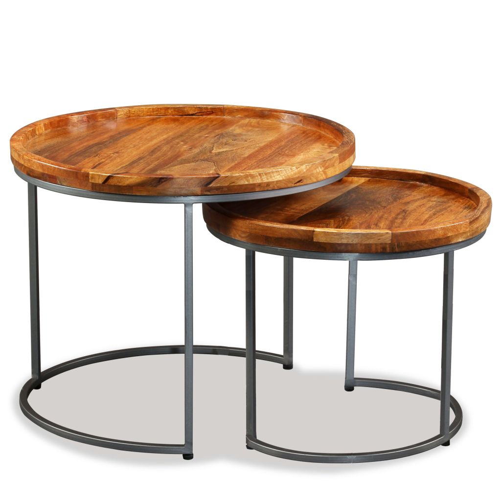 Side Table Set 2 Pieces Solid Mango Wood 4
