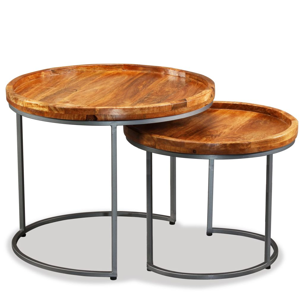 Side Table Set 2 Pieces Solid Mango Wood 5
