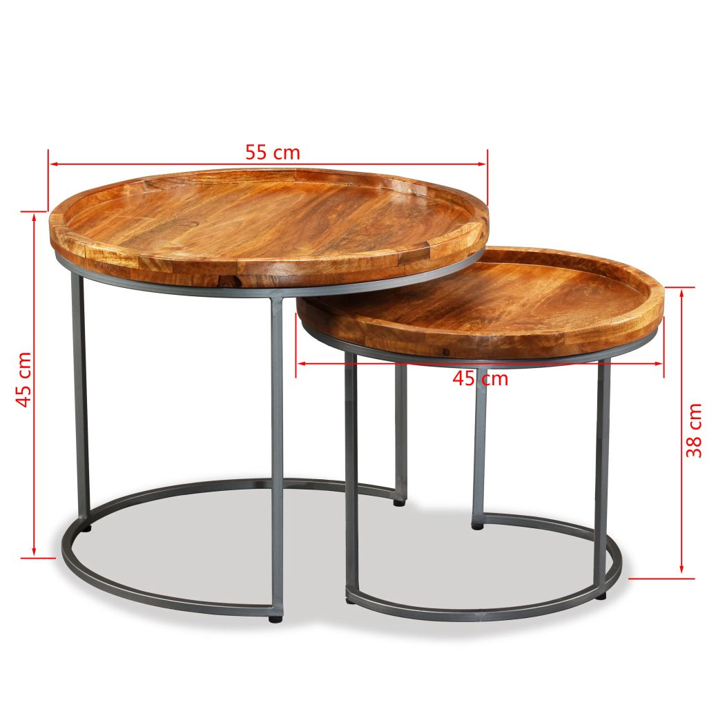 Side Table Set 2 Pieces Solid Mango Wood 9