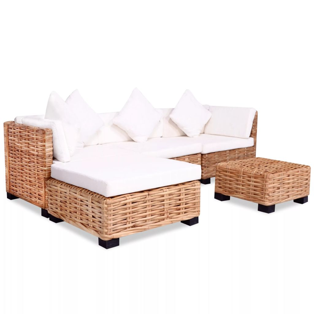 Sofa Set 14 Pieces Natural Rattan
