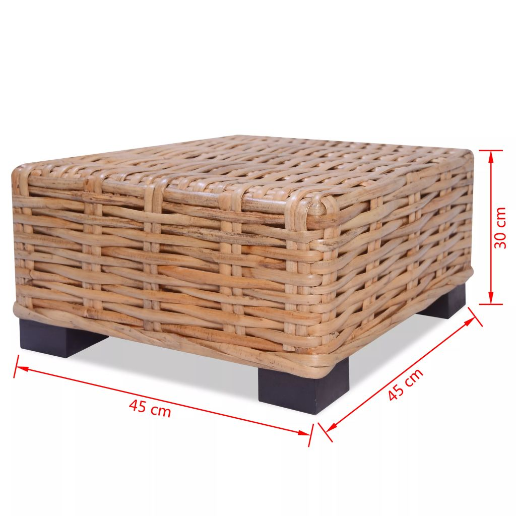 Coffee Table Natural Rattan 45x45x30 cm 4
