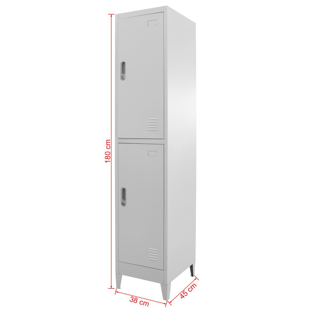 Locker Cabinet with 2 Compartments 38x45x180 cm 9