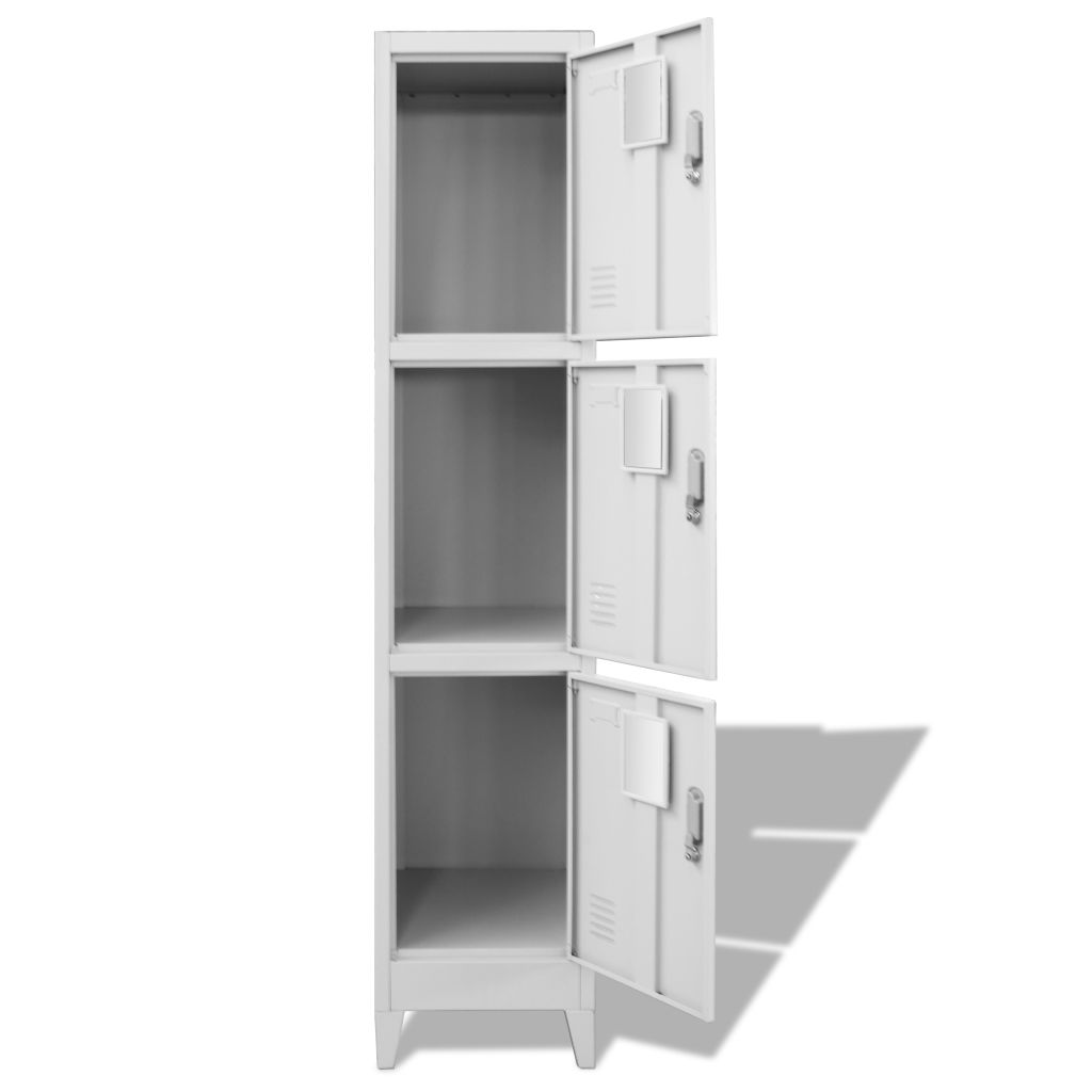 Locker Cabinet with 3 Compartments 38x45x180 cm 3
