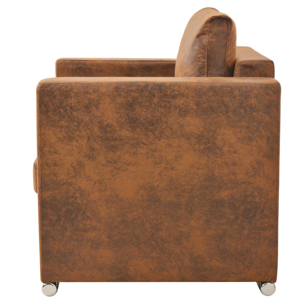 Armchair Brown Faux Suede Leather 3