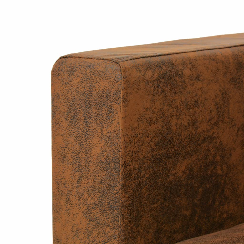 Armchair Brown Faux Suede Leather 4