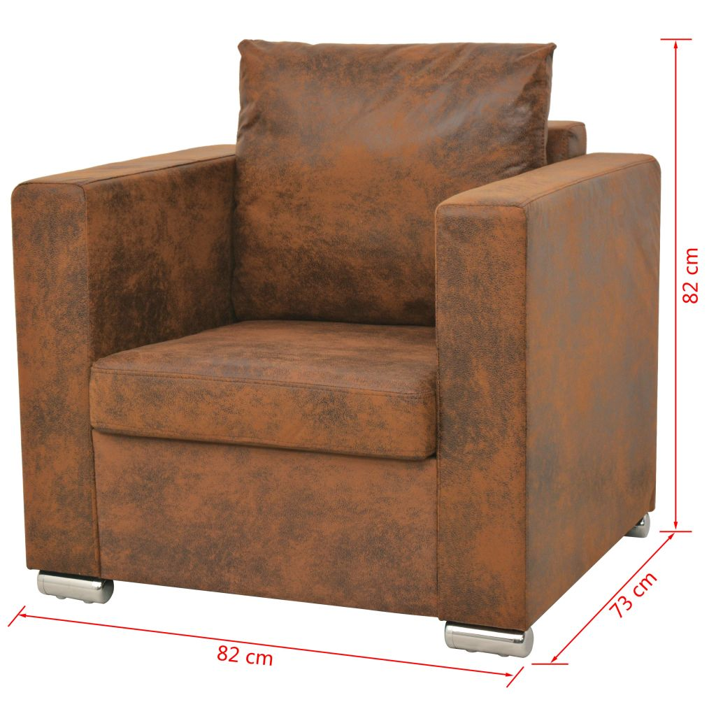 Armchair Brown Faux Suede Leather 5