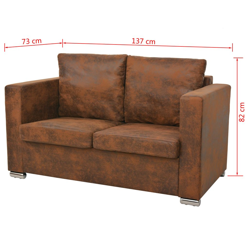 2-Seater Sofa 137x73x82 cm Artificial Suede Leather 5