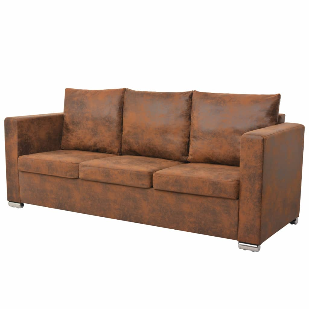 3-Seater Sofa 191x73x82 cm Artificial Suede Leather 1