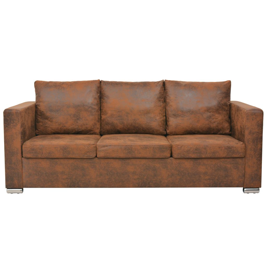 3-Seater Sofa 191x73x82 cm Artificial Suede Leather 2