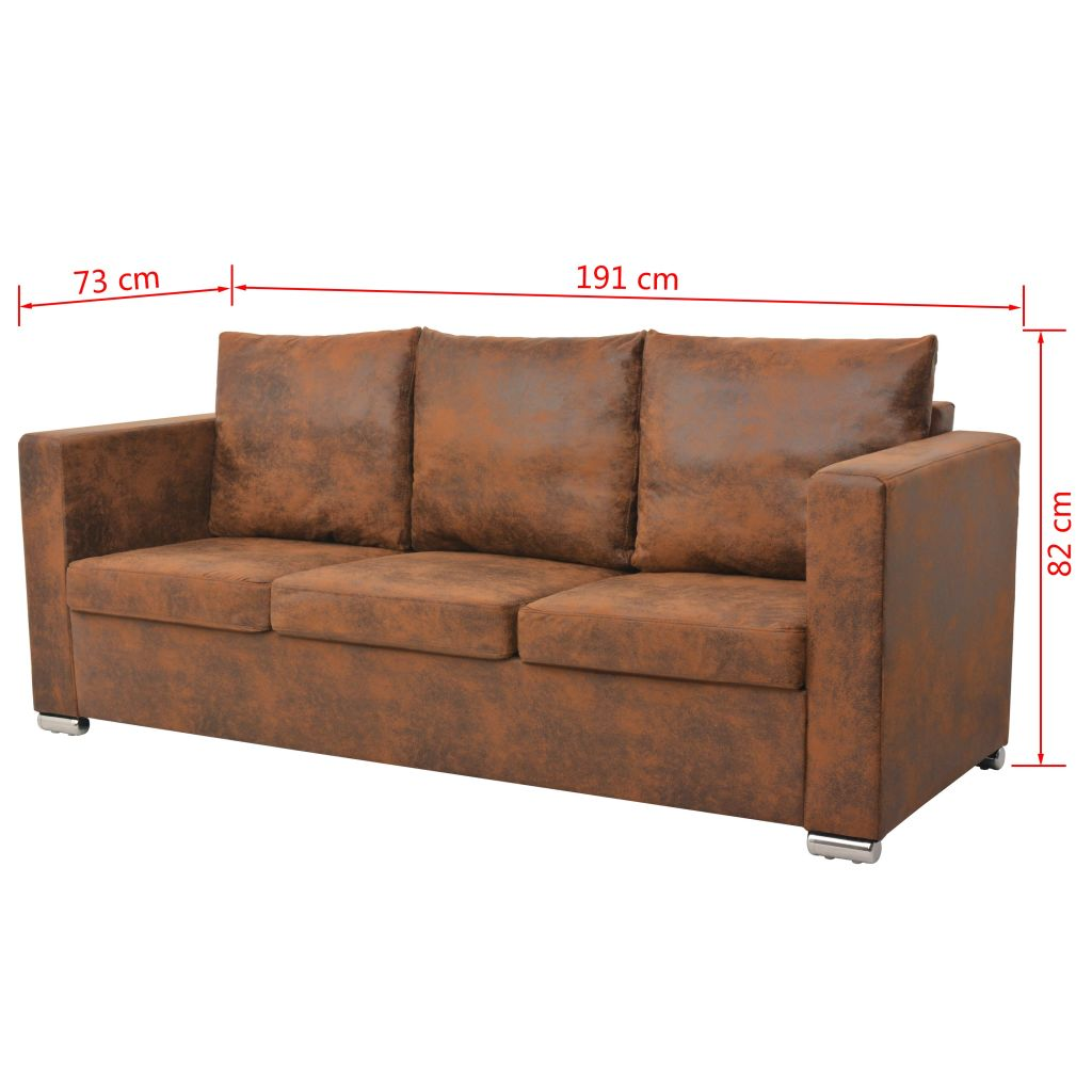 3-Seater Sofa 191x73x82 cm Artificial Suede Leather 5