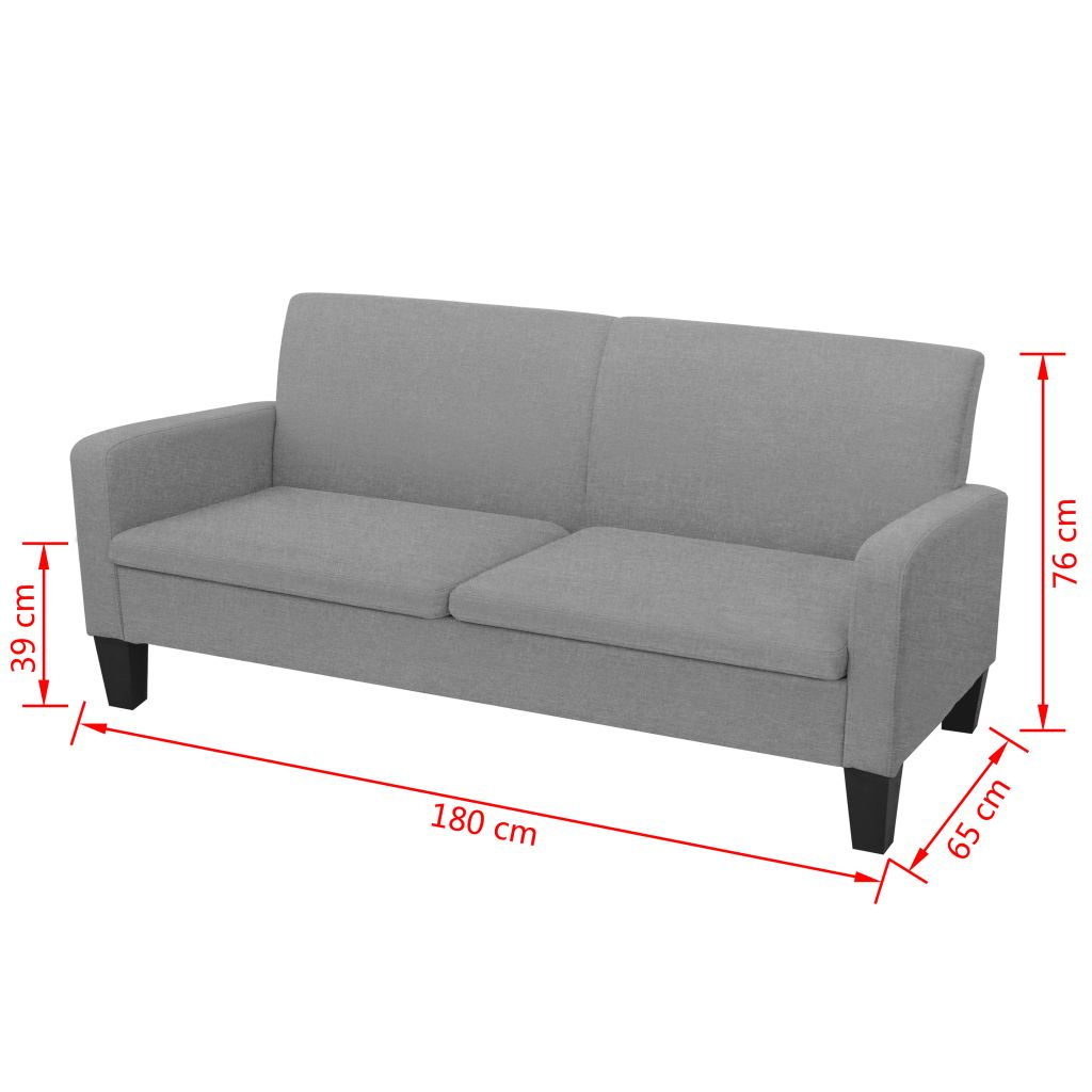 3-Seater Sofa 180x65x76 cm Dark Grey 4
