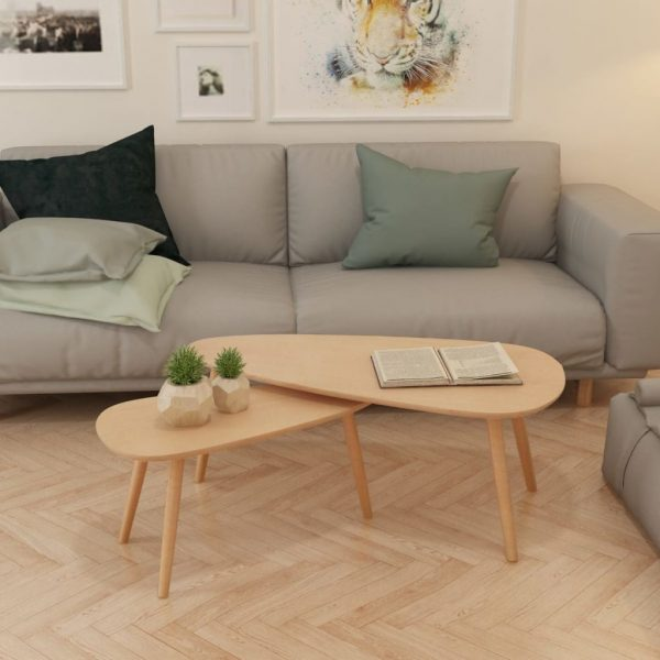 Coffee Table Set 2 Pieces Solid Pinewood Brown 3