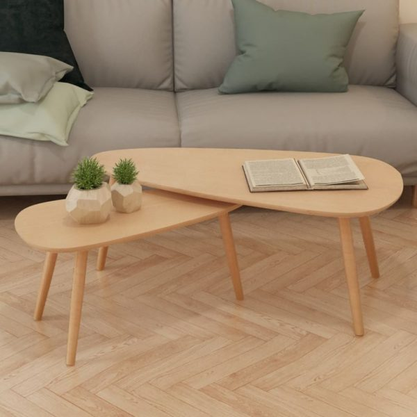Coffee Table Set 2 Pieces Solid Pinewood Brown 1
