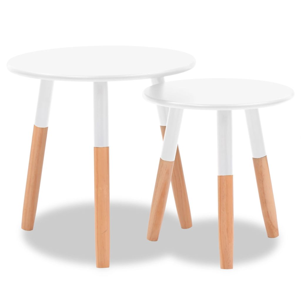 Side Table Set 2 Pieces Solid Pinewood White 2