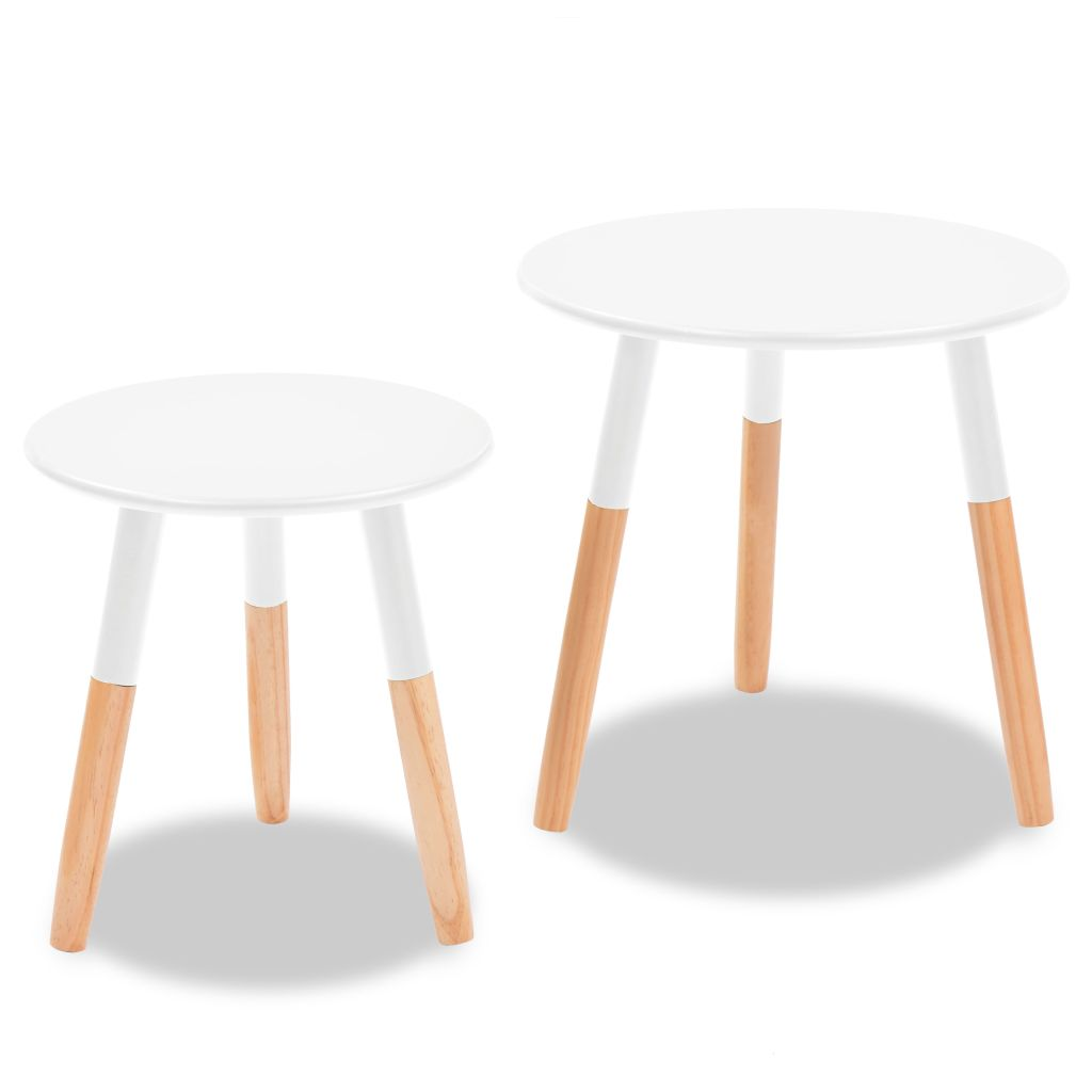 Side Table Set 2 Pieces Solid Pinewood White 4