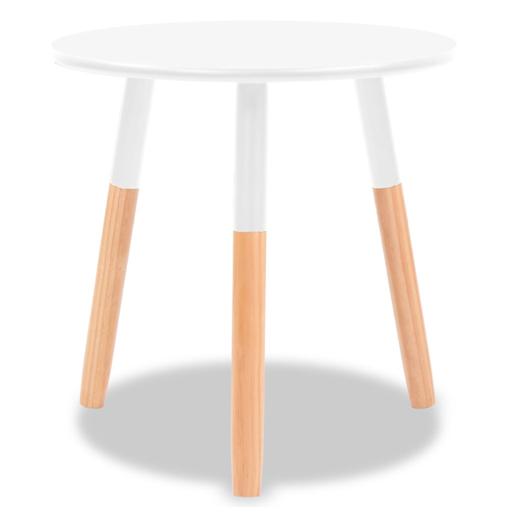Side Table Set 2 Pieces Solid Pinewood White 5