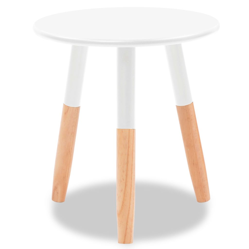 Side Table Set 2 Pieces Solid Pinewood White 6