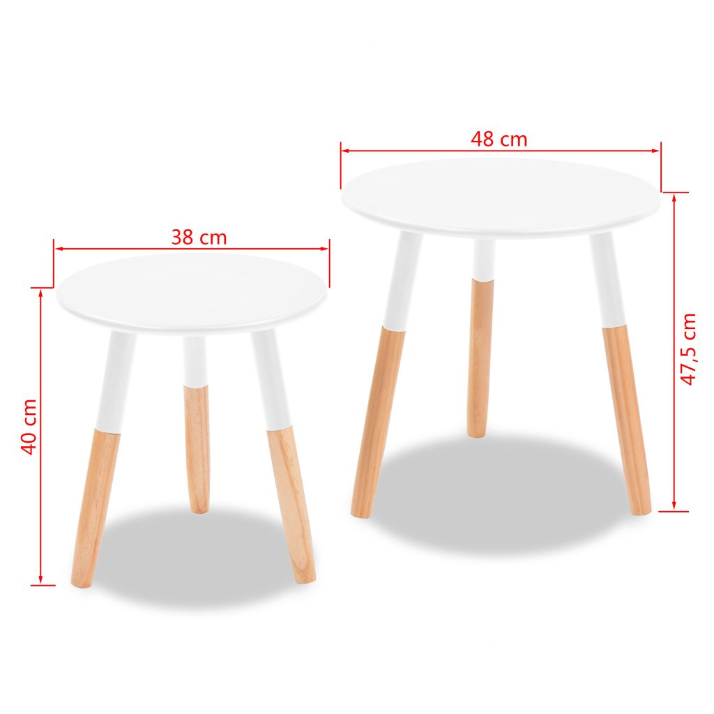 Side Table Set 2 Pieces Solid Pinewood White 9