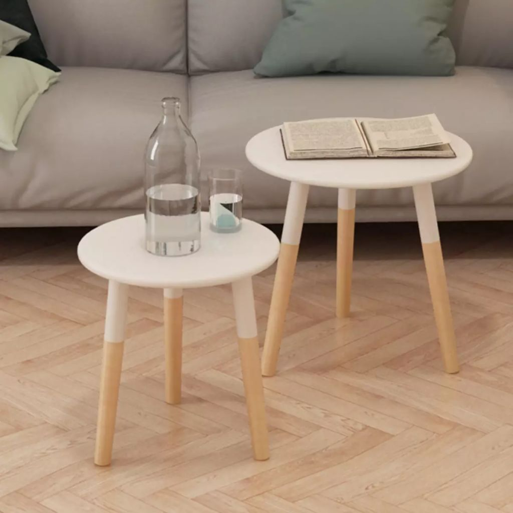 Side Table Set 2 Pieces Solid Pinewood White 1