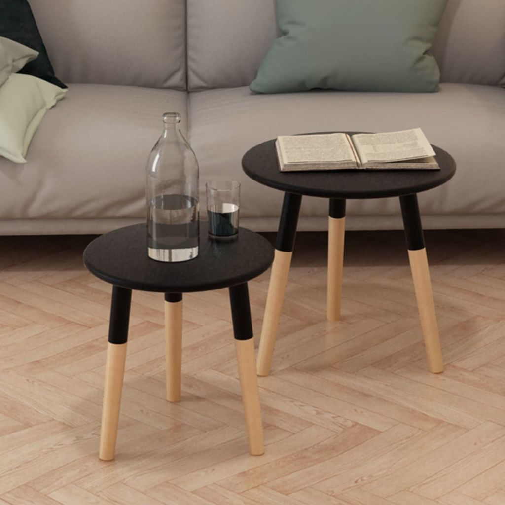 Side Table Set 2 Pieces Solid Pinewood Black 1