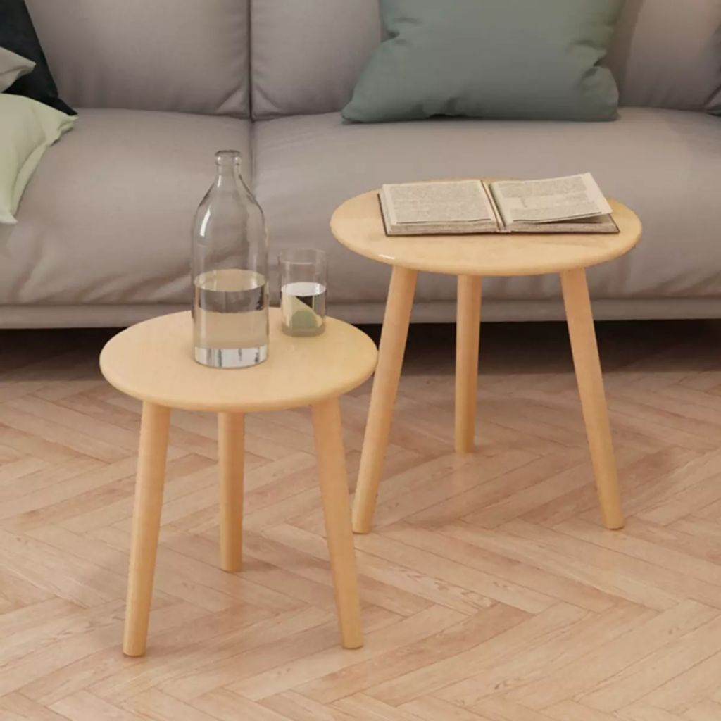 Side Table Set 2 Pieces Solid Pinewood Brown 1