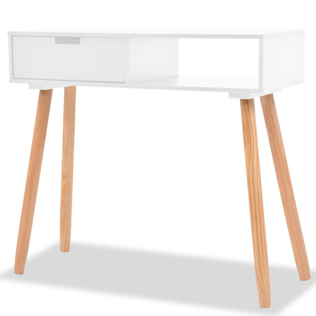 Console Table Solid Pinewood 80x30x72 cm White 1