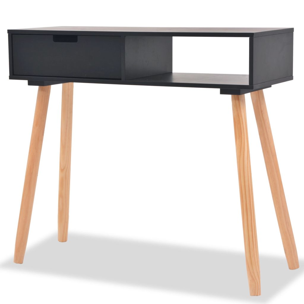 Console Table Solid Pinewood 80x30x72 cm Black 1