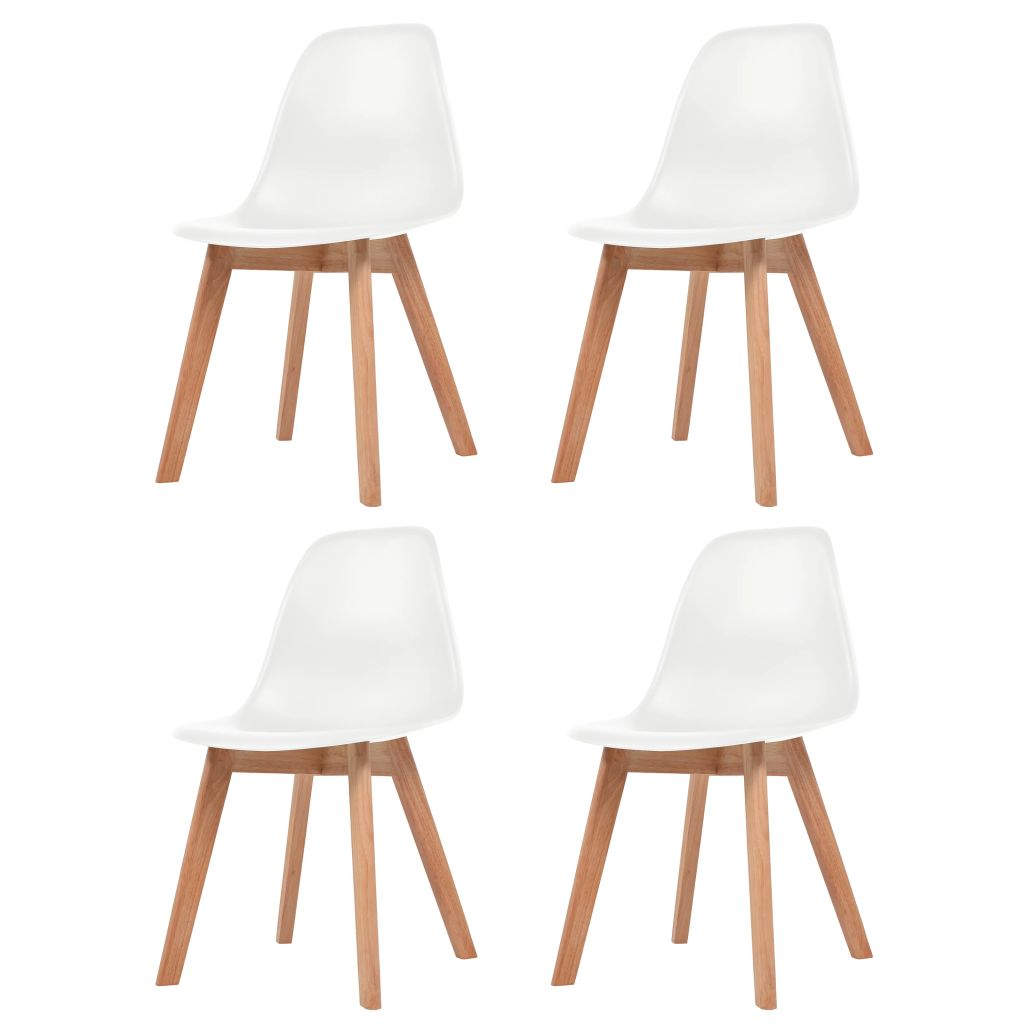 Dining Chairs 4 pcs White Plastic 1