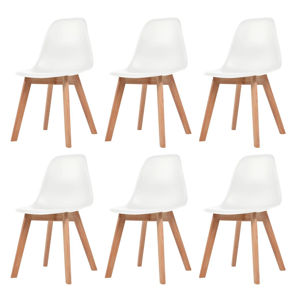 Dining Chairs 6 pcs White Plastic 1
