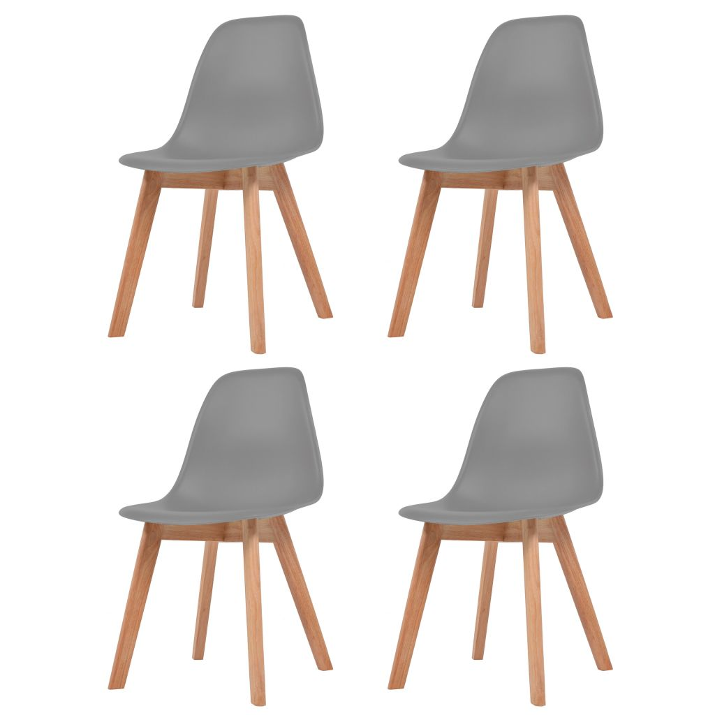 Dining Chairs 4 pcs Grey Plastic 1