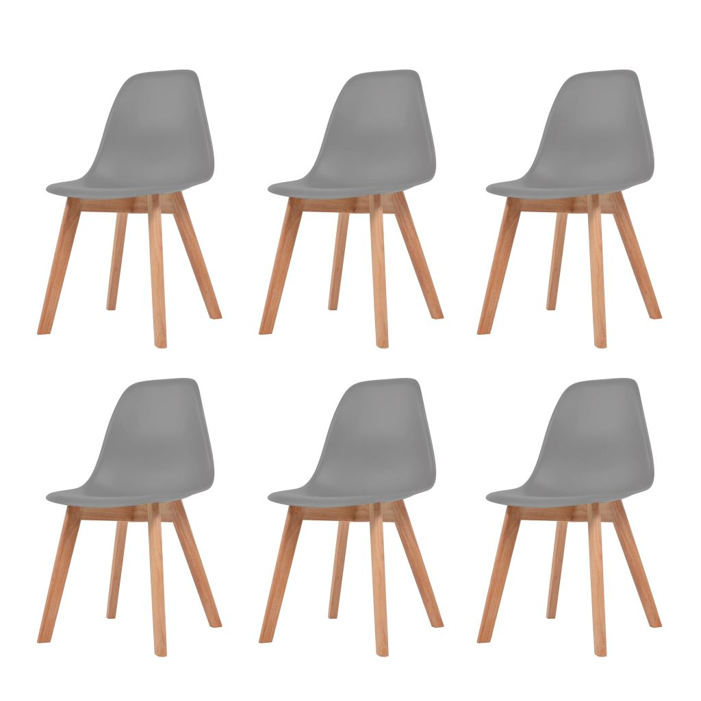 Dining Chairs 6 pcs Grey Plastic 1