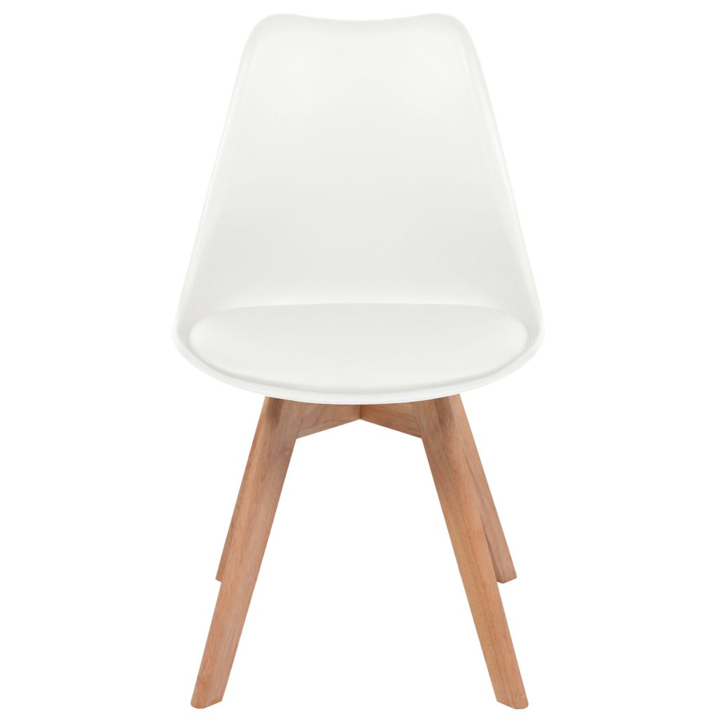Dining Chairs 2 pcs White Faux Leather 3