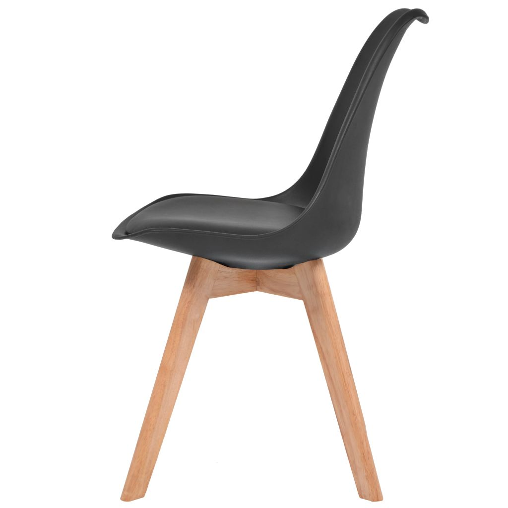 Dining Chairs 2 pcs Black Faux Leather 4