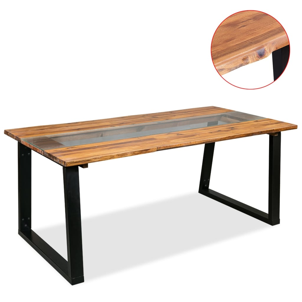 Dining Table Solid Acacia Wood and Glass 180x90x75 cm