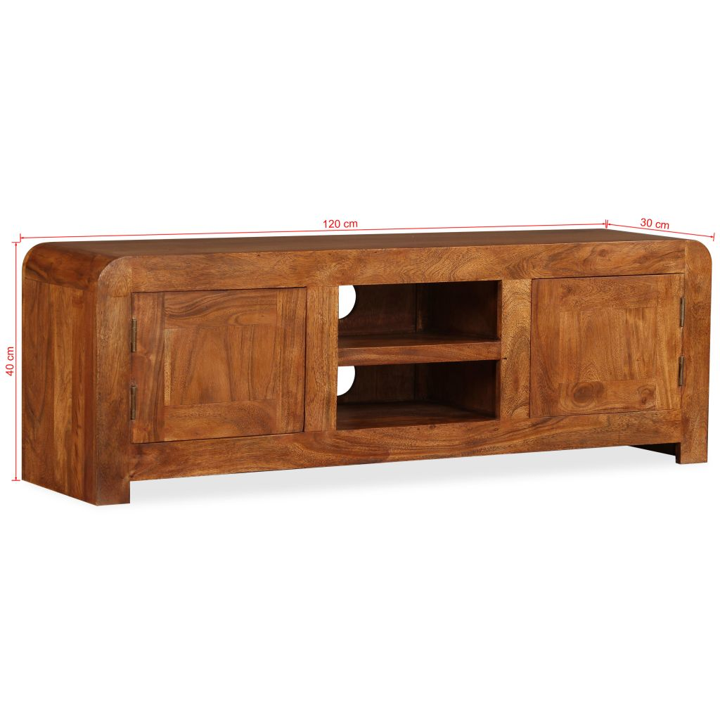 TV Cabinet 120x30x40 cm Solid Wood with Sheesham Finish 11