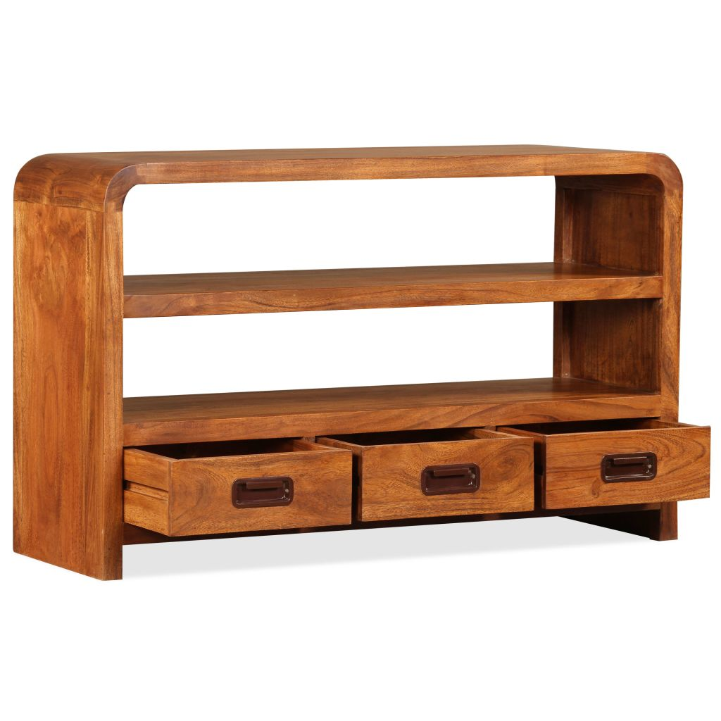 TV Cabinet 90x30x55 cm Solid Wood with Sheesham Finish 6