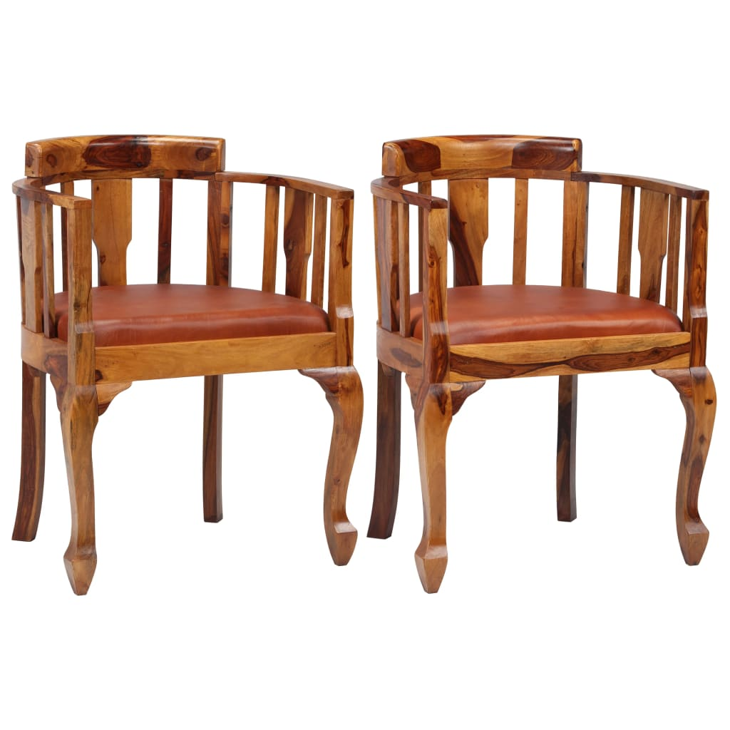 Dining Chairs 2 pcs Real Leather and Solid Sheesham Wood 1