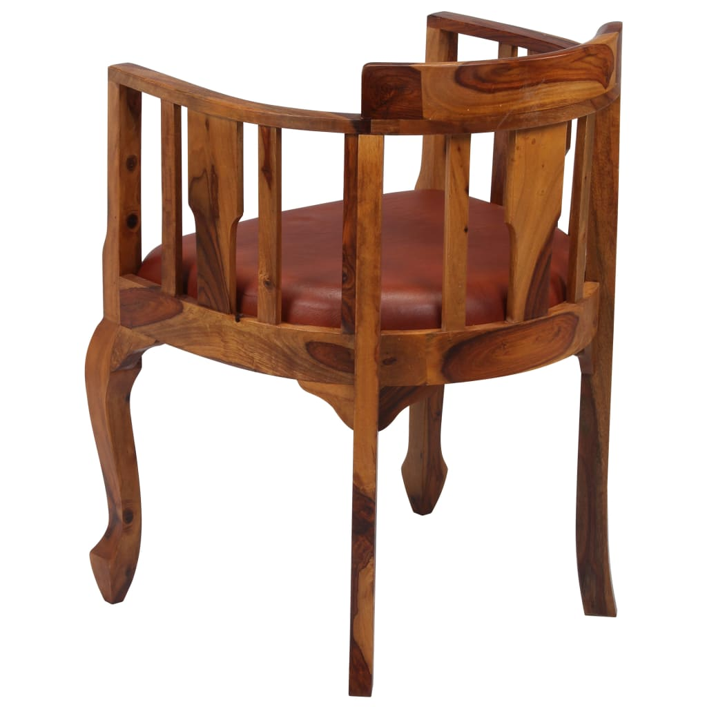 Dining Chairs 2 pcs Real Leather and Solid Sheesham Wood 4