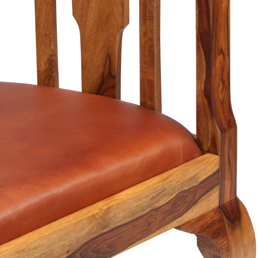 Dining Chairs 2 pcs Real Leather and Solid Sheesham Wood 6