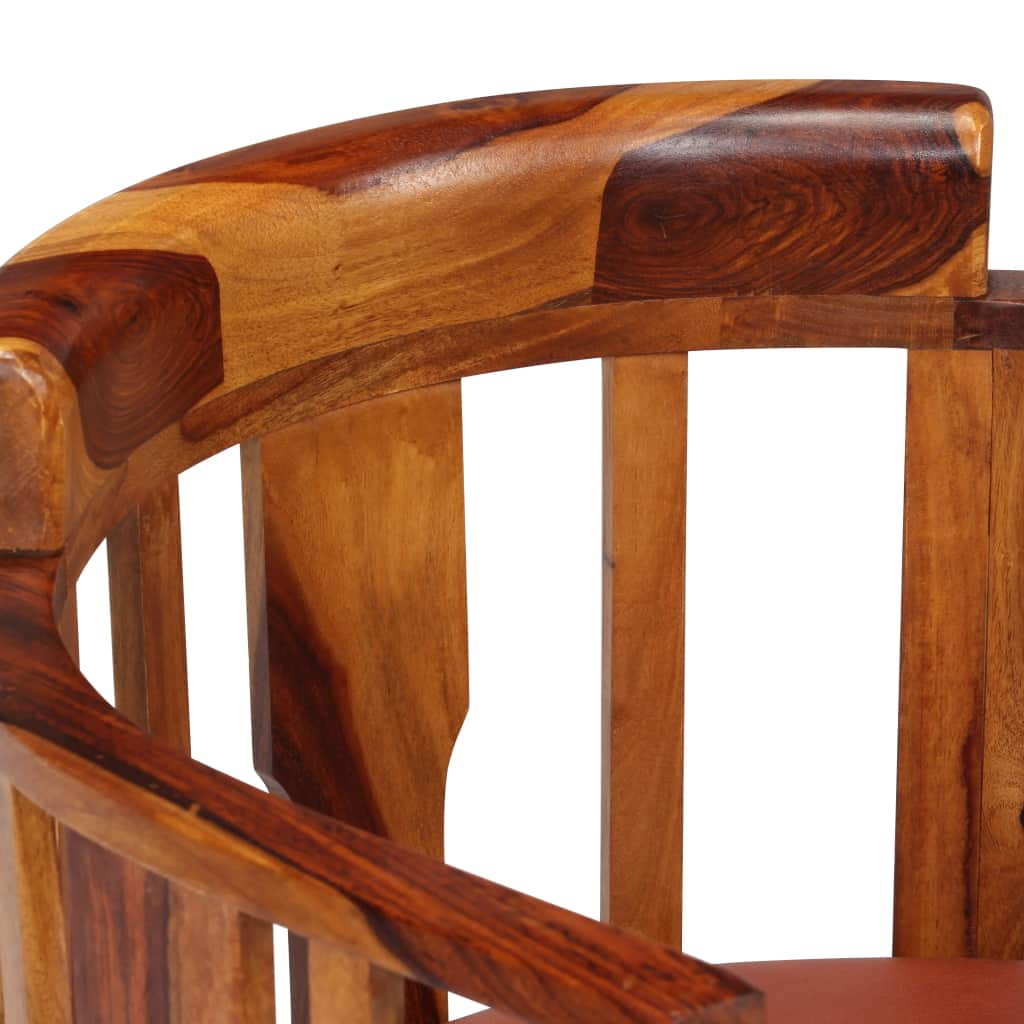 Dining Chairs 2 pcs Real Leather and Solid Sheesham Wood 7