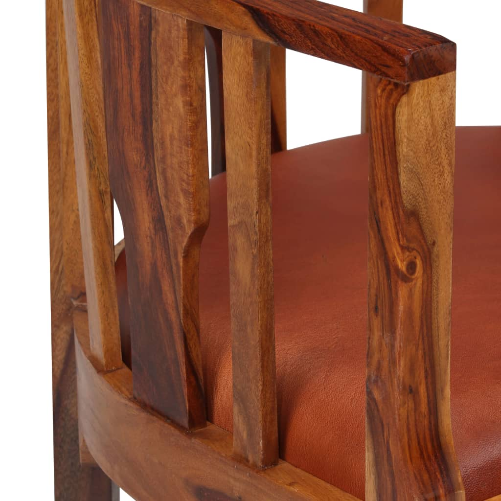 Dining Chairs 2 pcs Real Leather and Solid Sheesham Wood 8