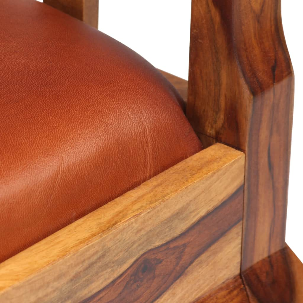 Dining Chairs 2 pcs Real Leather and Solid Sheesham Wood 10
