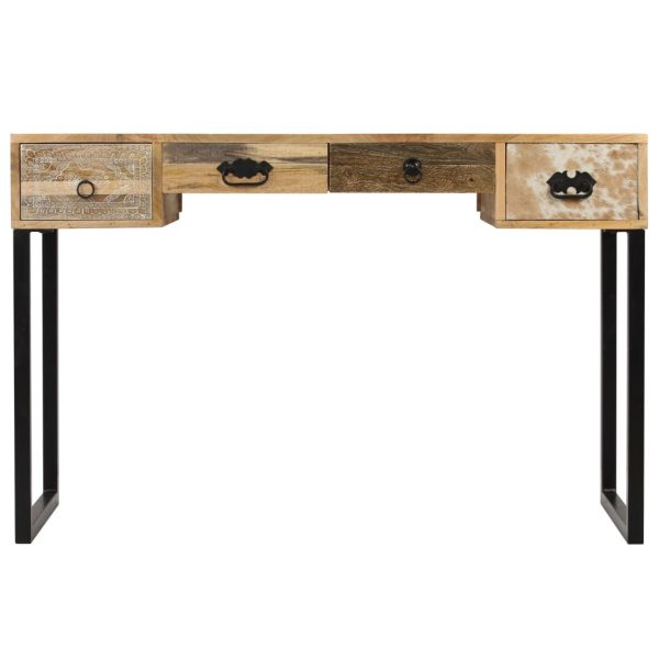 Desk Solid Mango Wood and Real Leather 117x50x76 cm 2