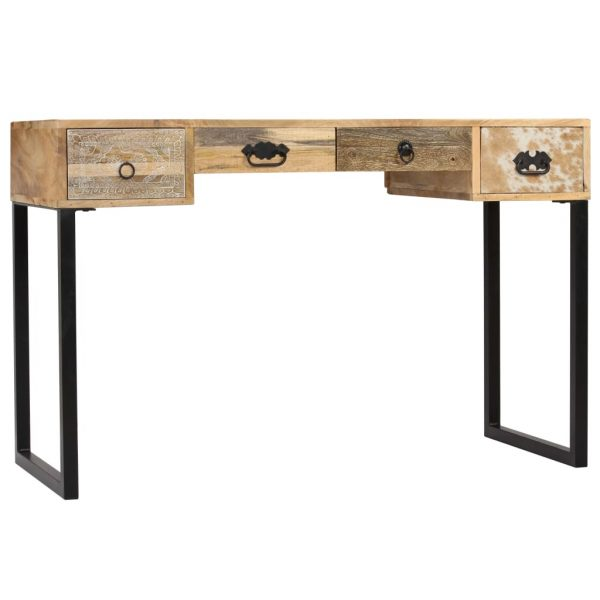 Desk Solid Mango Wood and Real Leather 117x50x76 cm 4