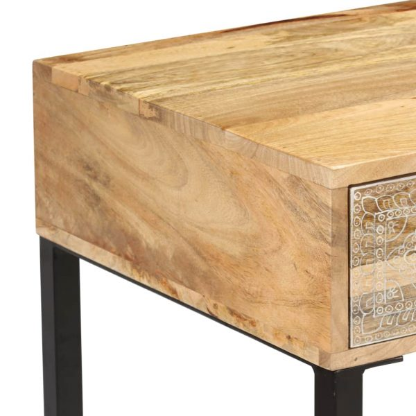 Desk Solid Mango Wood and Real Leather 117x50x76 cm 9