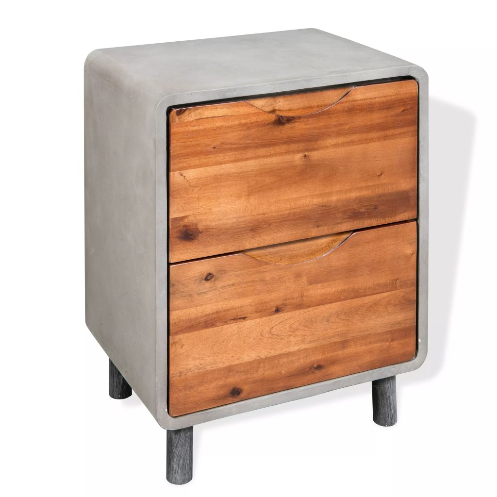 Nightstand Concrete Solid Acacia Wood 40x30x50 cm 1